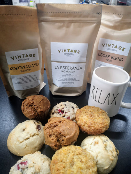 Coffee, Muffins and Scones Variety Package! $50 for a $64 Box filled WithVintage Coffee Roasters Fair Trade, Organic and Locally Roasted Coffee Paired With Marci's Bakery Big, Beautiful Muffins and Scones!