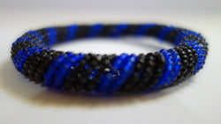 Maasai bangle blue/black stripe