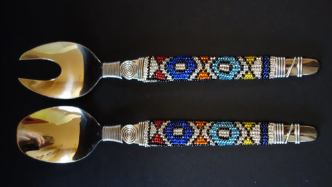 Beaded stainless steel salad servers