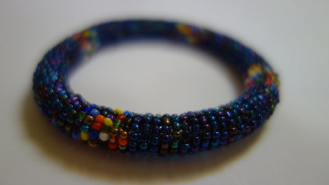 Maasai bangle blue/purple metalic