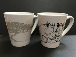 Set of two porcelain mugs