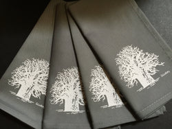 Set of Four  Grey Baobab Tree Napkins