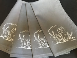 Set of Four Grey Rhino Napkins