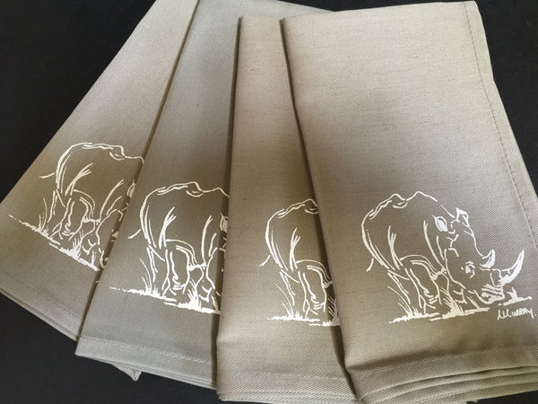 Set of Four Taupe Rhino Napkins