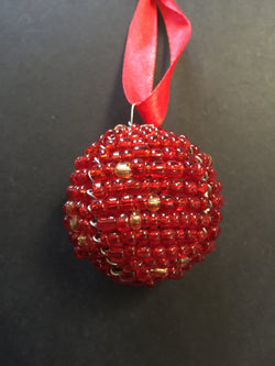 Beaded Ball Red