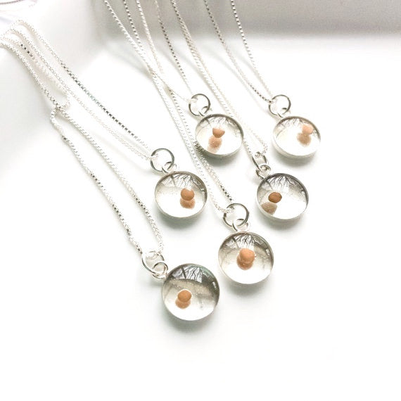 mustard seed necklaces - silver gift set