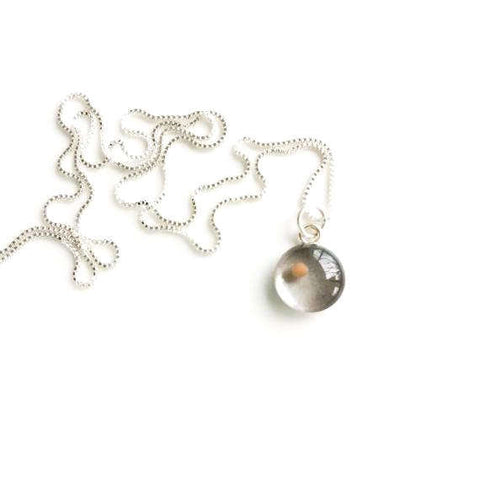 sterling mustard seed charm- silvery gray