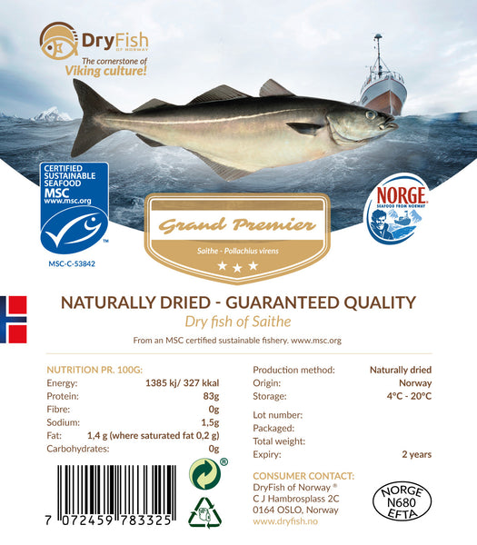 Stockfish of Saithe in 10 kg retail pack.