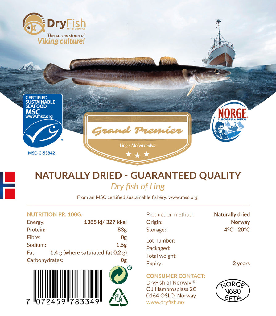 Stockfish of Ling in 10 kg retail pack.