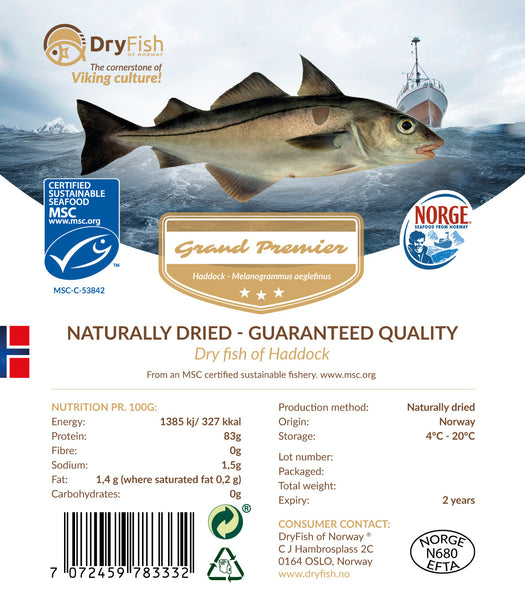 Stockfish of Haddock in 10 kg retail pack.