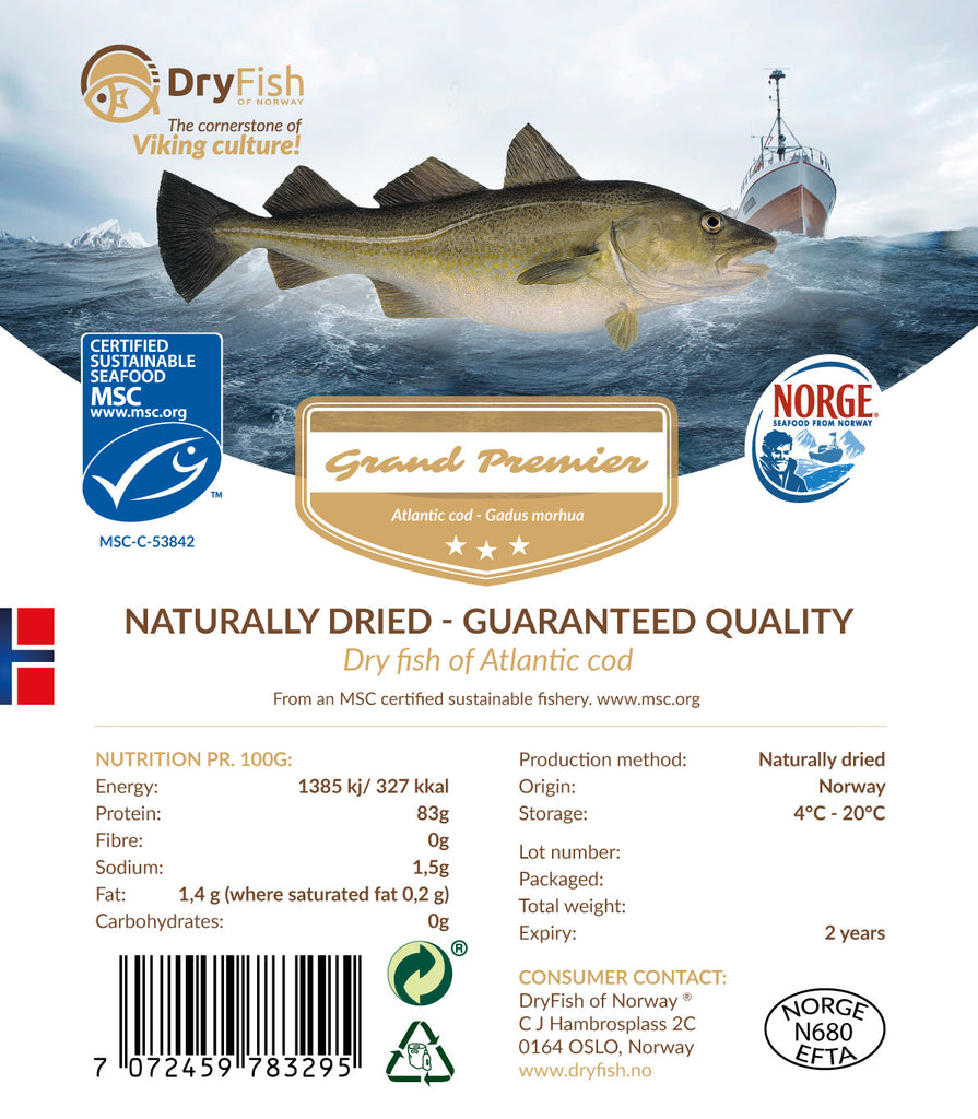 Stockfish of Cod in 10 kg retail pack.