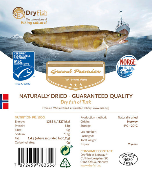 Stockfish of Tusk in 10 kgs retail pack.