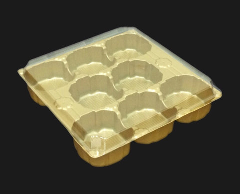 Self Respect 8 Small Round Mooncake in Square Tray (50 per lot) - Happypack Purchasing