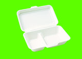 Tenacity 9 Inch/1000ml Two-Compartment Lunchbox  in PLANTZ Microwave Natural Packaging Biodegradeable Bagasse Bento (500 per lot)