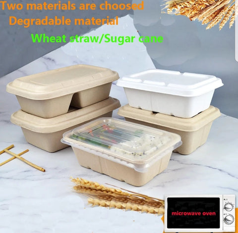 650/750/950/1000/1250ml Rectangular Bagasse Bento With Lid Eco more (20/50 per lot)