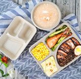 3/4/5 Compartment Bagasse With Lid Renewable Sustainable Packaging Bento meal box Eco more (50 per lot)
