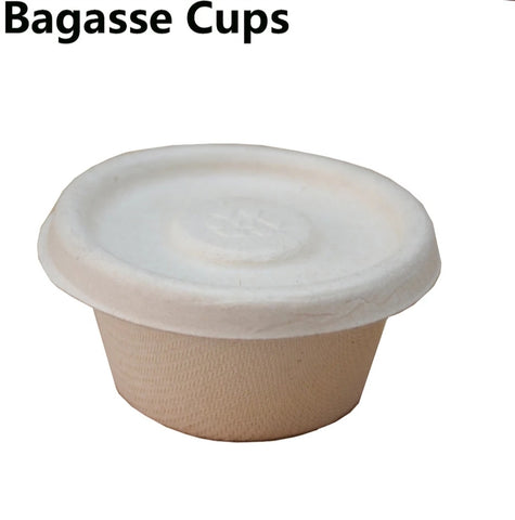 60ml/2oz Bagasse Sauce Cup with Transparent Lid Biodegradable Condiment Souffle Sauces more (50/100/200/300 per lot)