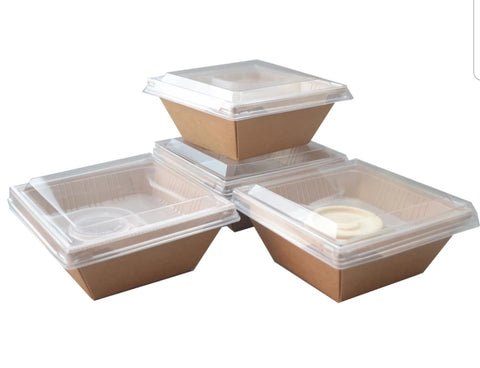 1100ml 2 Levels Kraft Paper Bento Base + TWO Level Eco more (50 per lot)