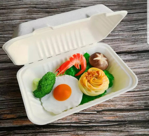 450ml/1000ml 1/2 Compartment Bagasse Bento Eco more (50 per lot)