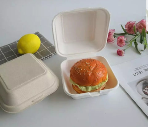 Square Bagasse Box Disposable Hamburgers Fried Food (10/50/200/500 per lot)