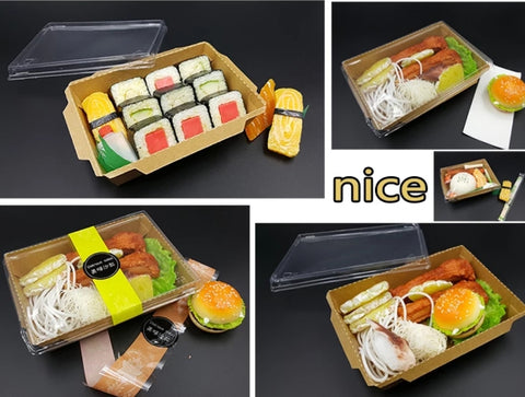 700/1000/1200/2000ml Kraft Paper Bento with Lid Eco More (100/ 200 per lot)