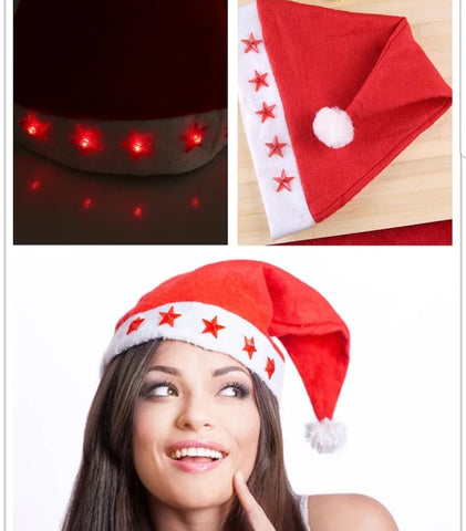 Christmas Hats with Light Stars Merry Xmas festivity more (120 per lot)