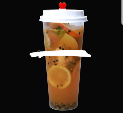 700ml TWO Juices Transparent Cup with Lid Round Or Flat Lid Option Drink More  (100/300/500 per lot more)