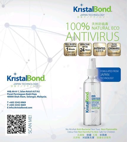 KristalBond Japan #1 Patented Mask Sanitizer Spray Combat Covid