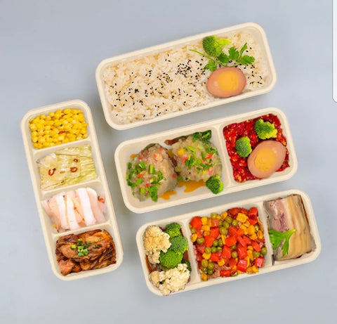 1/2/3/4 Compartment 23cm Corn Bento Biodegradable Eco More (50 per lot)