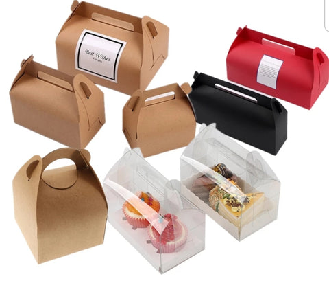 CAKE box with Handle Brown Kraft Paper (10 per lot)