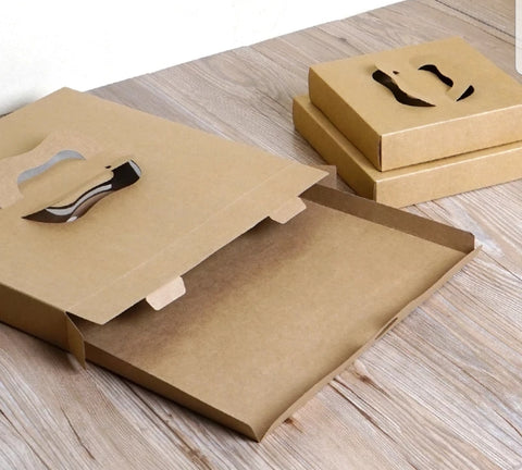 PIZZA: 16/23/30cm Brown Kraft Paper Box With Handle OR 1 Slice Box (200 per lot)