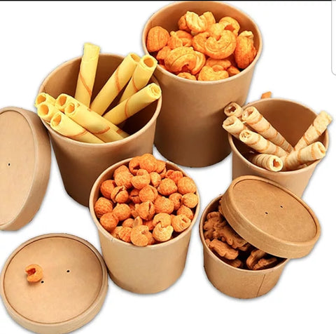 250/500/750/1000ml Kraft Bowl with Lid Double Wall Insulation Bowl More (100/500/600 per lot)