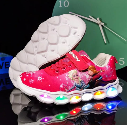 LightUp Elsa Pink / Spiderman Black Kids Easy Sports Shoes Little Children 10 Sizes Kid Mall (1 pair per lot)
