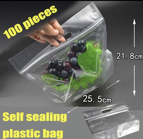 Fruits and Food Bags Self Sealing Ziplock more with EZ carrier handle (100 per lot more)