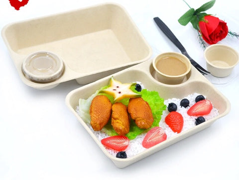 850/1000ml Bagasse Bento With Lid Eco more (100 per lot)