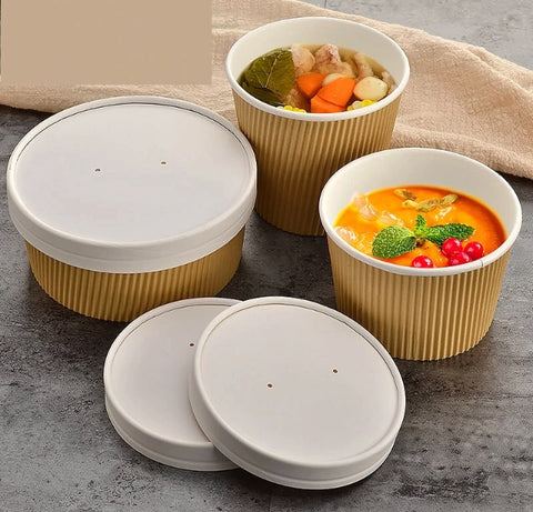 450/600/700 Soup Paper Bowl Kraft Ribbed Strong Double Insulation Bowl More (100 per lot)