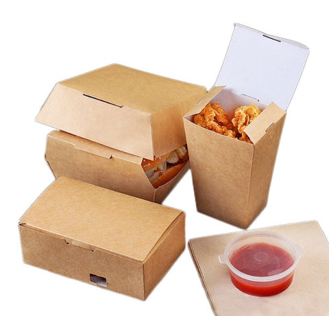 Fried Foods Box in Brown Kraft 3 designs (50 per lot)