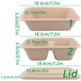 Tall Bamboo Bento with Matching Lids Eco More (500 per lot)