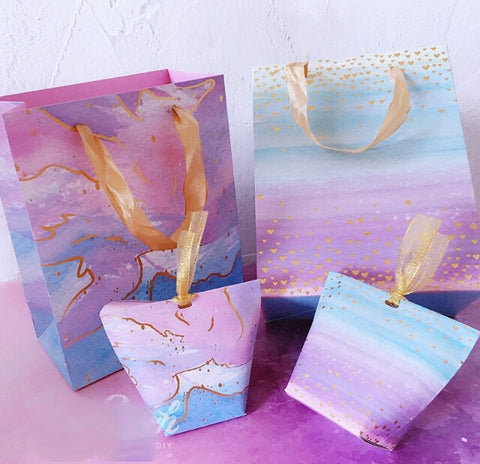 Romantic Rainbow Diamond Dreamy  Starry Sky Box for Muffins Cookies Gift 4 designs does not include paper bag paper more (10 per lot)