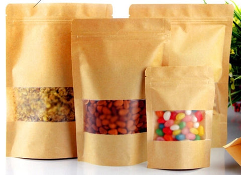 16/22 cm White or Brown Kraft Paper Pouch Transparent Window Ziplock more (50/100/1000/2000 per lot)