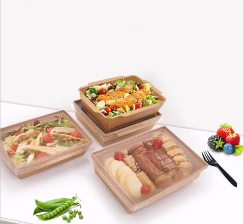 750/1000/1200/2000ml Kraft Paper Bento With Lid Eco more (100 per lot)