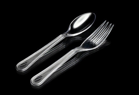 Transparent Fork and Spoon (100 per lot) - HappyPack.SG
