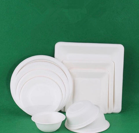Biodegradable plates paper corn Eco more bagasse disposable packaging plating 14 sizes (50 per lot)