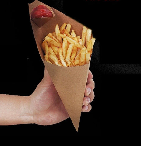 20/24/27cm Cone Holder with Sauce Space for Snack White Or Brown Kraft Paper (500/2000 per lot)