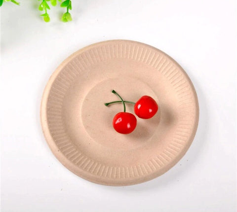 6/7/9/10 inches White or Brown Bagasse Nature-Brown Serving Plate More Eco Anti oil (50 per lot)