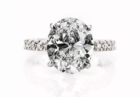 6 Carat Sparking Intercontinental Oval Solitaire Diamond Ring Engagement Ring Wedding Ring - available in 2 Colours