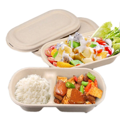 500/800/1000ml 1/2 Compartment Oval Bagasse Bento Eco more (20/50/ 100 per lot)