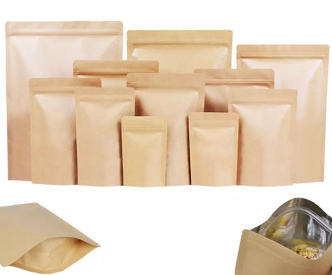 Kraft paper bag self stand film Ziplock More food snack tea candy oil-proof water-proof foodgradebags (200 per lot)
