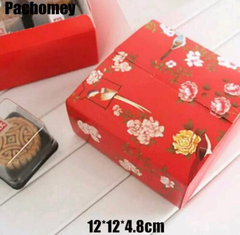 Red Flower Paper Mooncake Box for 4 Snowskin size mooncake more (20 per lot)