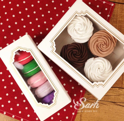 White Elegant Dessert Snack Box in Square Paper more (10 per lot more)